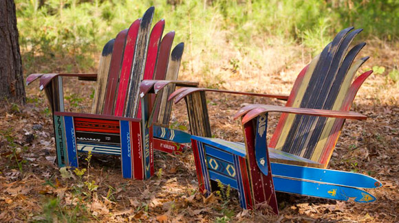 Adirondack chairs made from recycled skis